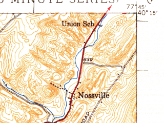 Reduced fragment of topographic map en--usgs--063k--060577--(1940)--N040-15_W078-00--N040-00_W077-45; towns and cities Orbisonia, Rockhill Furnace, Shade Gap