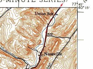 Reduced fragment of topographic map en--usgs--063k--060577--(1944)--N040-15_W078-00--N040-00_W077-45; towns and cities Orbisonia, Rockhill Furnace, Shade Gap