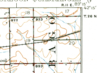 Reduced fragment of topographic map en--usgs--063k--060586--(1924)--N042-15_W089-30--N042-00_W089-15; towns and cities Adeline, Byron, German Valley