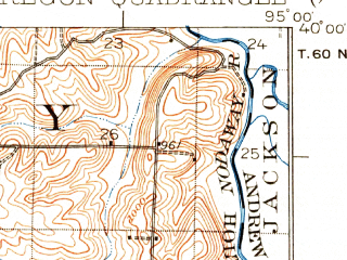 Reduced fragment of topographic map en--usgs--063k--060587--(1926)--N040-00_W095-15--N039-45_W095-00; towns and cities Oregon, Severance, Troy