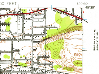 Reduced fragment of topographic map en--usgs--063k--060590--(1939)--N045-30_W122-45--N045-15_W122-30; towns and cities Powellhurst-centennial, Lake Oswego, Oatfield, Oregon City, Gladstone