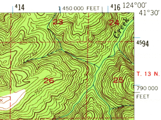 Reduced fragment of topographic map en--usgs--063k--060594--(1952)--N041-30_W124-15--N041-15_W124-00