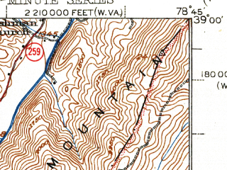 Reduced fragment of topographic map en--usgs--063k--060597--(1943)--N039-00_W079-00--N038-45_W078-45