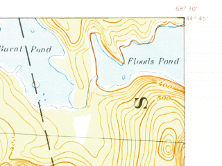 Reduced fragment of topographic map en--usgs--063k--060599--(1942)--N044-45_W068-45--N044-30_W068-30 in area of Branch Lake, Alamoosook Lake, Lower Patton Pond