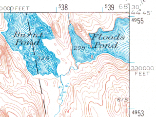 Reduced fragment of topographic map en--usgs--063k--060599--(1955)--N044-45_W068-45--N044-30_W068-30 in area of Branch Lake, Alamoosook Lake, Lower Patton Pond
