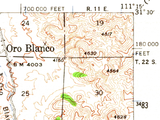 Reduced fragment of topographic map en--usgs--063k--060605--(1942)--N031-30_W111-30--N031-15_W111-15
