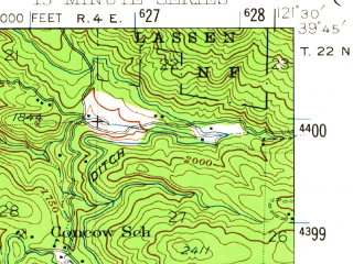Reduced fragment of topographic map en--usgs--063k--060611--(1942)--N039-45_W121-45--N039-30_W121-30 in area of Thermalito Forebay; towns and cities Oroville