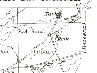 Reduced fragment of topographic map en--usgs--063k--060615--(1956)--N027-45_W099-30--N027-30_W099-15 in area of Lake Casa Blanca; towns and cities Laredo