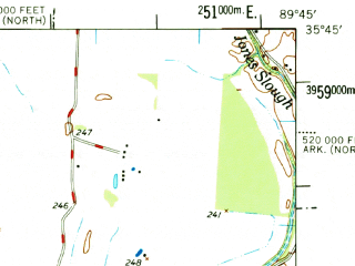 Reduced fragment of topographic map en--usgs--063k--060621--(1977)--N035-45_W090-00--N035-30_W089-45; towns and cities Osceola, Burlison, Garland, Gilt Edge
