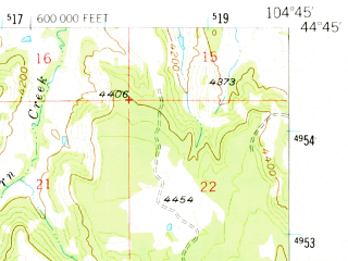 Reduced fragment of topographic map en--usgs--063k--060625--(1957)--N044-45_W105-00--N044-30_W104-45