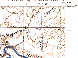 Reduced fragment of topographic map en--usgs--063k--060632--(1940)--N044-45_W091-15--N044-30_W091-00; towns and cities Augusta, Osseo