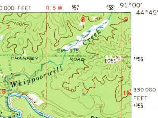 Reduced fragment of topographic map en--usgs--063k--060632--(1968)--N044-45_W091-15--N044-30_W091-00; towns and cities Augusta, Osseo
