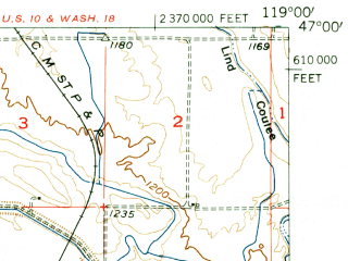 Reduced fragment of topographic map en--usgs--063k--060637--(1954)--N047-00_W119-15--N046-45_W119-00; towns and cities Othello, Warden