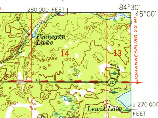 Reduced fragment of topographic map en--usgs--063k--060641--(1949)--N045-00_W084-45--N044-45_W084-30 in area of Otsego Lake