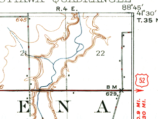Reduced fragment of topographic map en--usgs--063k--060644--(1915)--N041-30_W089-00--N041-15_W088-45; towns and cities Ottawa, Naplate