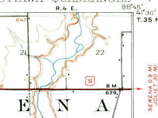 Reduced fragment of topographic map en--usgs--063k--060644--(1946)--N041-30_W089-00--N041-15_W088-45; towns and cities Ottawa, Naplate