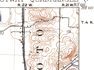 Reduced fragment of topographic map en--usgs--063k--060650--(1917)--N039-00_W083-15--N038-45_W083-00; towns and cities Otway, Rarden, West Portsmouth