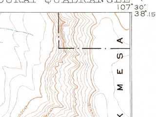 Reduced fragment of topographic map en--usgs--063k--060652--(1904)--N038-15_W107-45--N038-00_W107-30; towns and cities Ouray