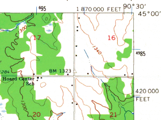 Reduced fragment of topographic map en--usgs--063k--060663--(1963)--N045-00_W090-45--N044-45_W090-30; towns and cities Greenwood, Owen, Withee