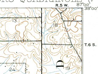 Reduced fragment of topographic map en--usgs--063k--060665--(1901)--N038-00_W087-15--N037-45_W087-00; towns and cities Owensboro, Rockport