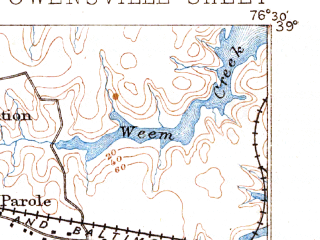 Reduced fragment of topographic map en--usgs--063k--060666--(1892)--N039-00_W076-45--N038-45_W076-30; towns and cities Annapolis, Bowie, Parole, Londontowne, Deale