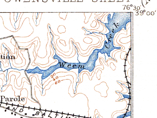 Reduced fragment of topographic map en--usgs--063k--060666--(1895)--N039-00_W076-45--N038-45_W076-30; towns and cities Annapolis, Bowie, Parole, Londontowne, Mayo