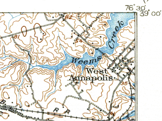 Reduced fragment of topographic map en--usgs--063k--060666--(1905)--N039-00_W076-45--N038-45_W076-30; towns and cities Bowie, Annapolis, Parole, Londontowne, Mayo