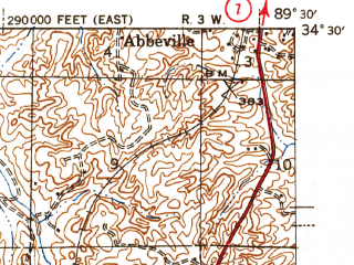 Reduced fragment of topographic map en--usgs--063k--060670--(1943)--N034-30_W089-45--N034-15_W089-30; towns and cities Oxford, Taylor
