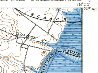 Reduced fragment of topographic map en--usgs--063k--060676--(1904)--N038-45_W076-15--N038-30_W076-00; towns and cities Cambridge, Oxford, Trappe, Church Creek