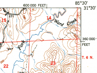 Reduced fragment of topographic map en--usgs--063k--060681--(1950)--N031-30_W085-45--N031-15_W085-30 in area of Lake Tholocco; towns and cities Ozark, Fort Rucker, Newton, Pinckard, Daleville
