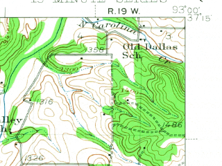Reduced fragment of topographic map en--usgs--063k--060683--(1943)--N037-15_W093-15--N037-00_W093-00; towns and cities Ozark, Rogersville, Sparta