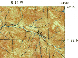 Reduced fragment of topographic map en--usgs--063k--060684--(1942)--N048-15_W124-45--N048-00_W124-30 in area of Ozette Lake