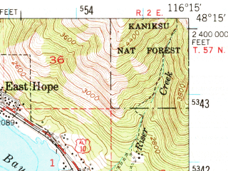 Reduced fragment of topographic map en--usgs--063k--060691--(1949)--N048-15_W116-30--N048-00_W116-15; towns and cities East Hope, Hope