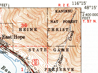 Reduced fragment of topographic map en--usgs--063k--060691--(1951)--N048-15_W116-30--N048-00_W116-15; towns and cities East Hope, Hope