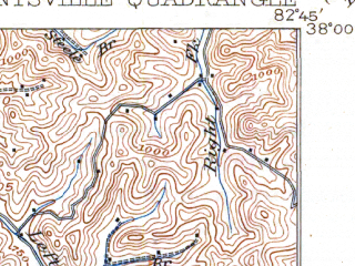 Reduced fragment of topographic map en--usgs--063k--060707--(1917)--N038-00_W083-00--N037-45_W082-45; towns and cities Van Lear, Paintsville
