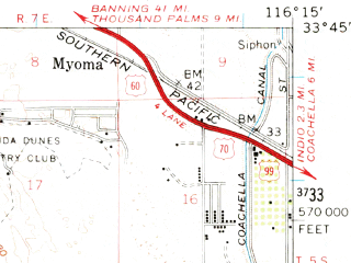 Reduced fragment of topographic map en--usgs--063k--060718--(1959)--N033-45_W116-30--N033-30_W116-15; towns and cities Palm Desert, La Quinta, Palm Desert Country, Bermuda Dunes, Indian Wells