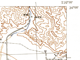 Reduced fragment of topographic map en--usgs--063k--060719--(1944)--N034-00_W116-45--N033-45_W116-30; towns and cities Palm Springs, Desert Hot Springs