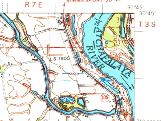Reduced fragment of topographic map en--usgs--063k--060723--(1970)--N030-45_W092-00--N030-30_W091-45; towns and cities Krotz Springs, Palmetto, Port Barre