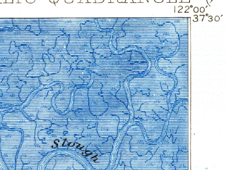 Reduced fragment of topographic map en--usgs--063k--060730--(1899)--N037-30_W122-15--N037-15_W122-00; towns and cities Sunnyvale, Mountain View, Palo Alto, Cupertino, East Palo Alto