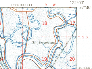 Reduced fragment of topographic map en--usgs--063k--060730--(1948)--N037-30_W122-15--N037-15_W122-00; towns and cities Sunnyvale, Palo Alto, Mountain View, Cupertino, East Palo Alto