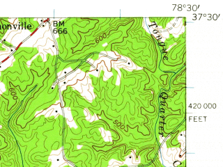 Reduced fragment of topographic map en--usgs--063k--060732--(1958)--N037-30_W078-45--N037-15_W078-30; towns and cities Pamplin City