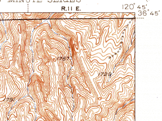 Reduced fragment of topographic map en--usgs--063k--060741--(1944)--N036-45_W121-00--N036-30_W120-45; towns and cities Panache