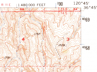 Reduced fragment of topographic map en--usgs--063k--060741--(1956)--N036-45_W121-00--N036-30_W120-45; towns and cities Panache