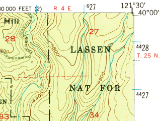 Reduced fragment of topographic map en--usgs--063k--060749--(1953)--N040-00_W121-45--N039-45_W121-30; towns and cities Paradise, Magalia
