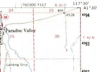 Reduced fragment of topographic map en--usgs--063k--060751--(1958)--N041-30_W117-45--N041-15_W117-30