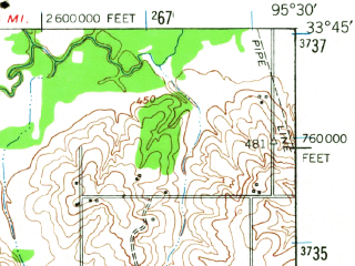 Reduced fragment of topographic map en--usgs--063k--060759--(1948)--N033-45_W095-45--N033-30_W095-30 in area of Lake Crook; towns and cities Paris, Toco, Roxton