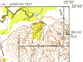 Reduced fragment of topographic map en--usgs--063k--060759--(1949)--N033-45_W095-45--N033-30_W095-30 in area of Lake Crook; towns and cities Paris, Roxton, Toco