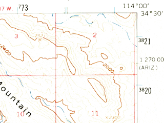 Reduced fragment of topographic map en--usgs--063k--060766--(1959)--N034-30_W114-15--N034-15_W114-00; towns and cities Parker Strip
