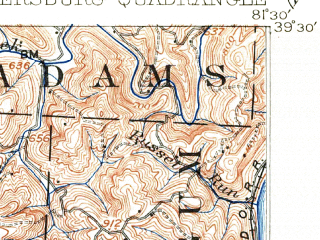 Reduced fragment of topographic map en--usgs--063k--060768--(1904)--N039-30_W081-45--N039-15_W081-30; towns and cities Parkersburg, Vienna, Belpre, Blennerhassett, North Hills