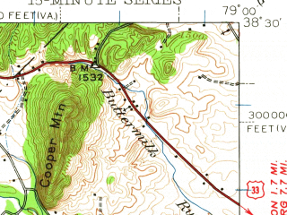 Reduced fragment of topographic map en--usgs--063k--060777--(1944)--N038-30_W079-15--N038-15_W079-00